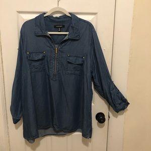 Ellen Tracy Plus Size Chambray Zipper Front Blouse